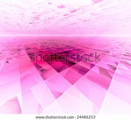 Spring Dance - 3D fractal landscape - stock photo