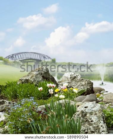 Spring day in city park - stock photo