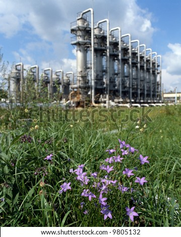 Spring day on gas plant. Gas industry  storage facilities. - stock photo