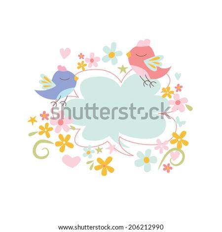 Spring design with birds Raster version - stock photo