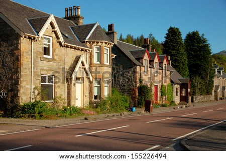 Spring evening in Strathyre, Scotland, UK.  Strathyre  is a district and settlement in the Stirling local government district of Scotland. - stock photo