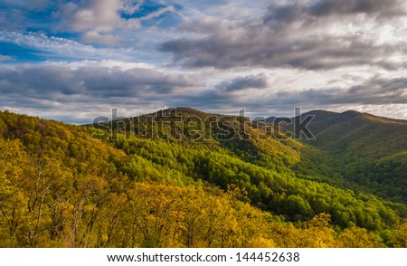 Spring evening view from an overlook on Skyline Drive in Shenandoah National Park, Virginia. - stock photo