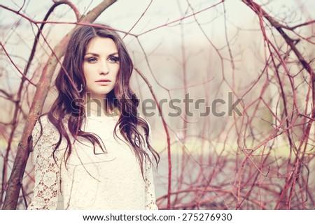Spring Fashion Woman Outdoors - stock photo