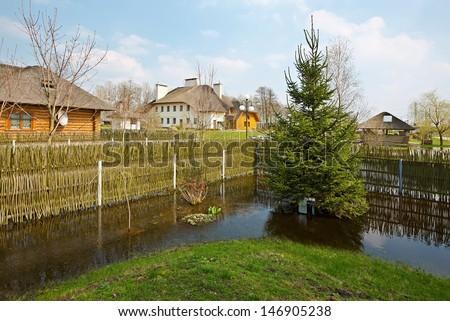 Spring flood, Belarus, near Brest - stock photo