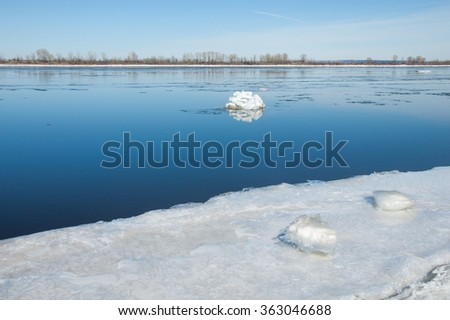 Spring flooding, ice water, Early spring on the river. Russia Tatarstan Kama river in early spring