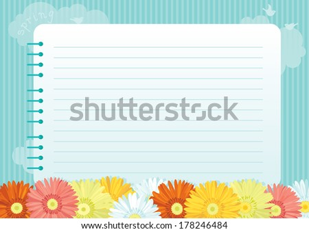 Spring floral background. Many spring flowers and page of   spiral exercise book on abstract background  - stock photo