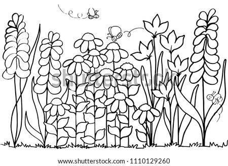 Spring Flower Garden Coloring Page Stock Illustration 1110129260 ...