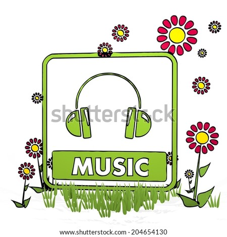 spring flower hand drawn sketch of music with scribble flowers on white background - stock photo