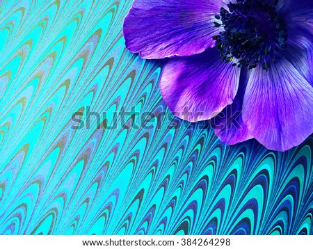 Spring flower on paper with a marbled-look - stock photo