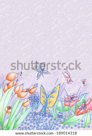 Spring flowers and butterflies hand drawn background pencil and ink with purple copy space. - stock photo