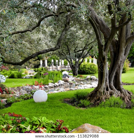 Spring flowers and oliva trees in the Asian garden with a pond - stock photo