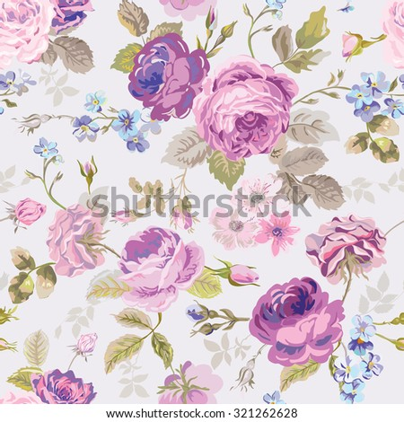 Spring Flowers Background - Seamless Floral Shabby Chic Pattern - stock photo