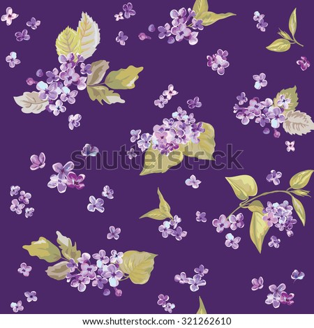 Spring Flowers Backgrounds - Seamless Floral Shabby Chic Pattern - stock photo