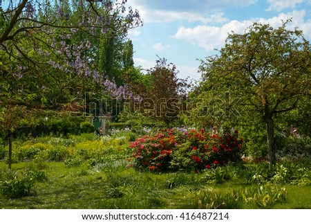 Spring flowers in the gardens of Giverny, France - stock photo