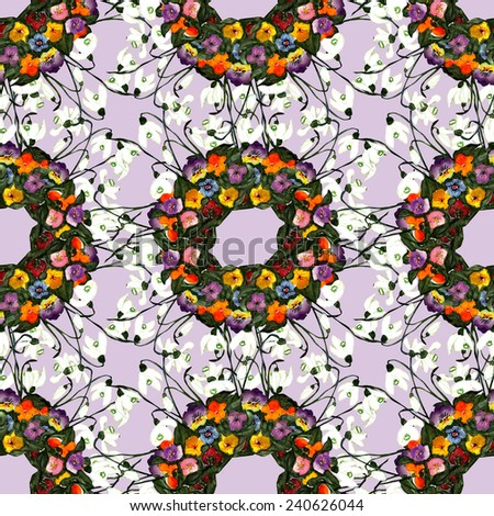 Spring flowers seamless pattern - stock photo