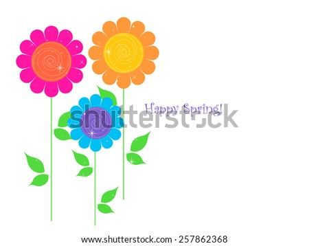 Spring Flowers - Text Space - stock photo