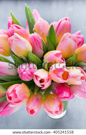 Spring flowers. Tulip bouquet on the bokeh background.