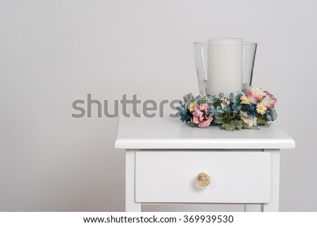 spring flowers with candle - stock photo