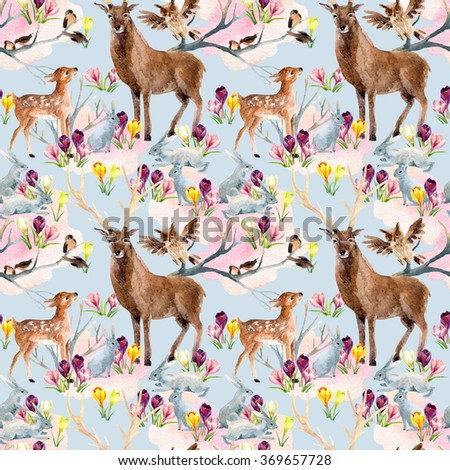 Spring forest seamless pattern. Deer with fawn, rabbits, birds and first spring flowers. Hand painted illustration on pastel background - stock photo