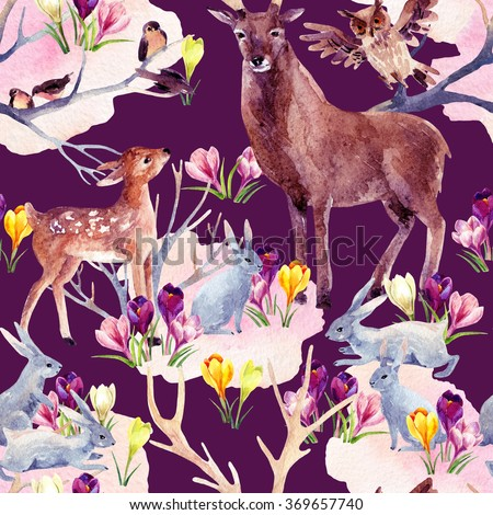 Spring forest seamless pattern. Deer with fawn, rabbits, birds and first spring flowers. Hand painted illustration on vivid background - stock photo
