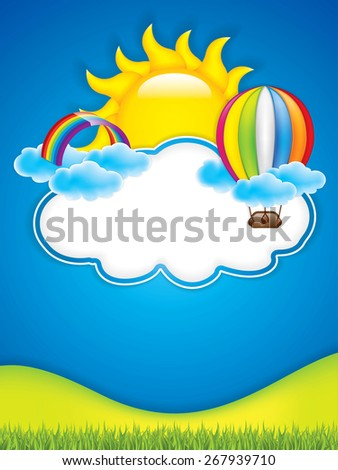 Spring frame with hot air balloon and rainbow - stock photo