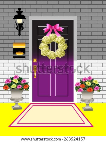 Spring front door and porch  displaying spring decor of a hydrangea wreath, bright colored bow and potted chrysanthemums