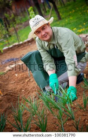Spring garden concept. Male gardener is doing garden work - stock photo