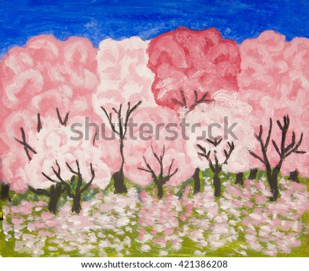 Spring garden in blossom in pink colours, oil painting - stock photo