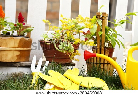 Spring gardening tools - stock photo