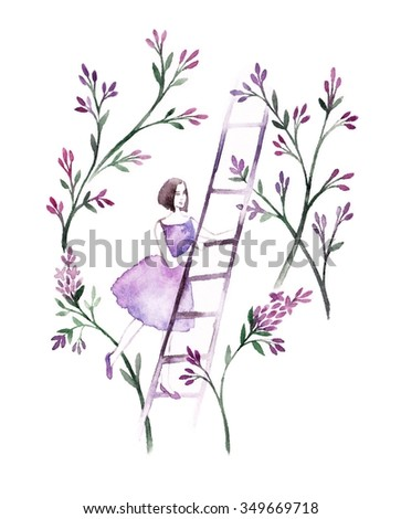 Spring girl - illustration. Watercolor background. Colorful abstract texture. Watercolor girl with flowers. Mother's greeting card. Valentine's day background. Girl on stairs.  - stock photo