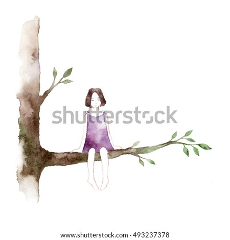 Spring girl - illustration. Watercolor background. Colorful abstract texture. Watercolor girl with flowers. Mother's greeting card. Valentine's day background. Girl on tree