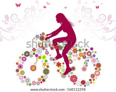 Spring Girl on bike . Raster version of vector illustration  - stock photo