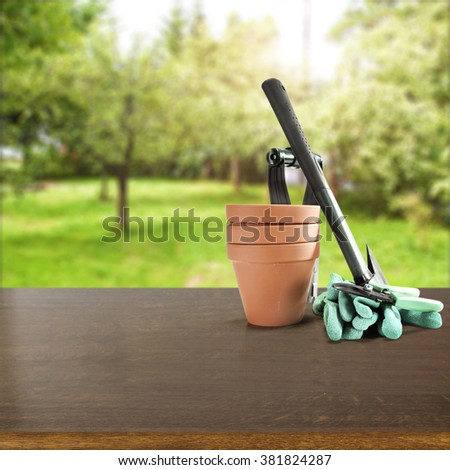 spring green background of blurred space and pots