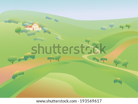 Spring green fields and a house