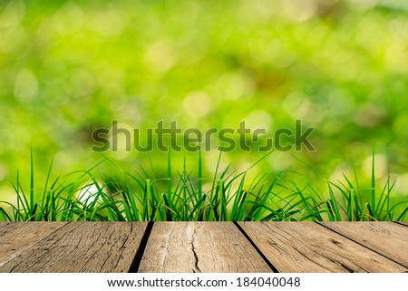 spring green grass with green bokeh and sunlight and wood floo - stock photo