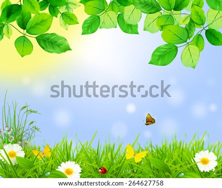 Spring green leaves ,flowers,butterfly. - stock photo
