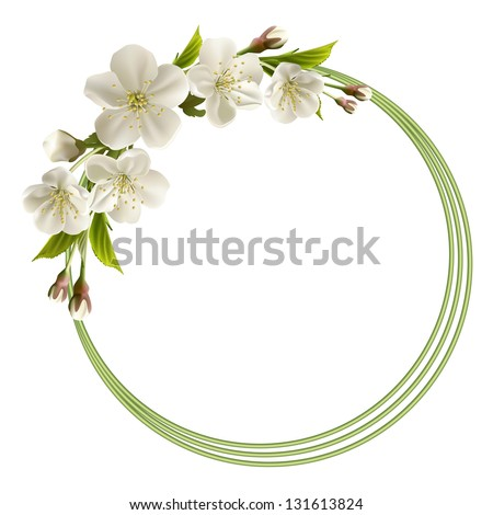 Spring header with white cherry flowers, buds and copy space. - stock photo