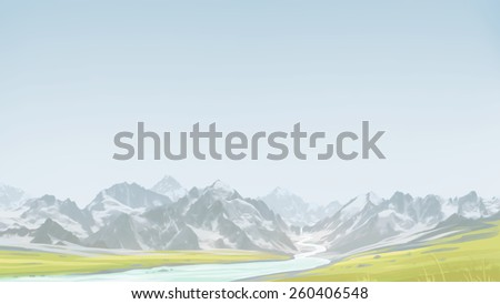 Spring hiking in the mountains. Green valley along with the mountains. Digital background raster illustration. - stock photo