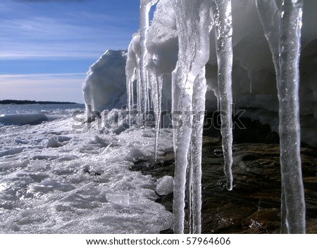 Spring icicles - stock photo
