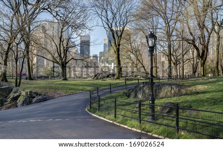 Spring in Central Park, New York City with cherry trees - stock photo