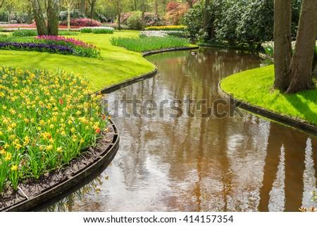Spring in flowering green garden Keukenhof, Netherlands - stock photo