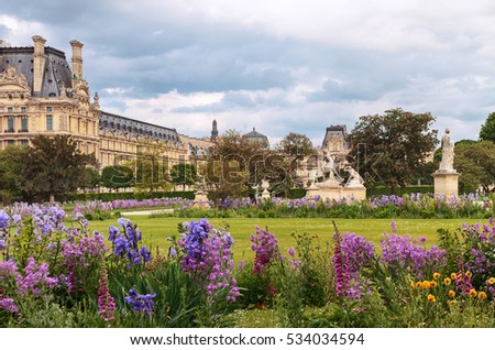 Spring in Garden of the Tuileries which is one of most famous parks in Paris, France.