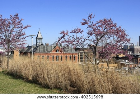 Spring in Kansas City, Missouri; red bud trees - stock photo