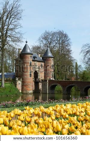Spring in the Groot-Bijgaarden (Grand-Bigard) Castle, Belgium - stock photo