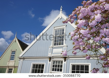Spring in the historical town of Broek in Waterland, the Netherlands - stock photo