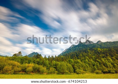 Spring in the Pieniny with Three Crowns mountain in the background, long time exposure