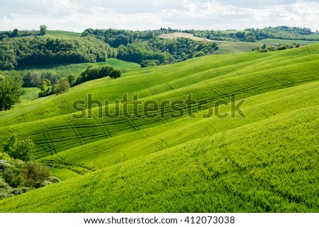 Spring in Tuscany on siena crete with valleys and green hills and cypress