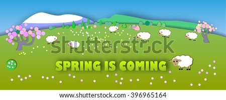 Spring is coming.The beginning of spring.Concept change of seasons.Paper cut style.Green spring meadow with blossoming tree, banner. Sheep on pastures - stock photo