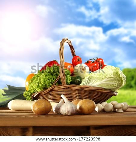 spring landscape and spring vegetables  - stock photo