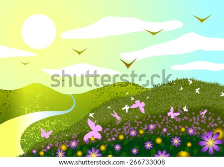 Spring landscape. Field, flowers, butterflies, sunset and river. - stock photo